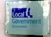 Nameplate outside Local Government Association offices in London