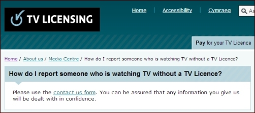 Screenshot of TV Licencing Web site inviting reports of TV watching without permission