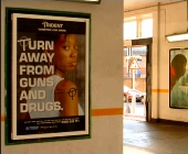 Rail station poster says Turn away from gunds and drugs